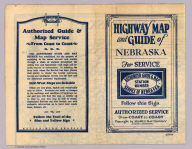 (Covers to) Highway map and guide of Nebraska. Copyright by Mid-West Map Co., Aurora, Mo. ... (192-?)