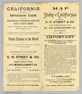 (Covers to) Map of the state of California, compiled expressly for C.H. Street & Co., successors to the Immigration Association of California, 415 Montgomery St., San Francisco ... Lith. Britton & Rey, S.F. (1886?)