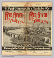 (Covers to) St. Paul, Minneapolis & Manitoba Ry. Red River Valley Line through the park region to the New Northwest. March, 1886. Matthews, Northrup & Co., Art-Printing Works, Buffalo, N.Y.