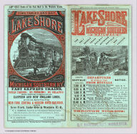 """(Covers to) Time tables and map, Lake Shore and Michigan Southern Ry. Fast express trains ... reliable through connections with eastern and New England lines, and with all express trains of the New-York Central & Hudson River Railroad, and New-York, Lake Erie & Western R.R. Only route of the Fast Mail to the Western States ... Matthews, Northrup & Co., """"Morning Express"""" Printing House, Buffalo, N.Y."""