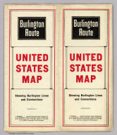 (Covers to) Burlington Route. United States map showing Burlington Lines and connections ...
