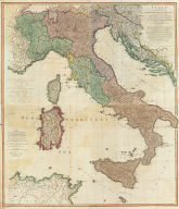 (Composite of) Italy with the addition of the southern parts of Germany as far as Pettau in Stiria, Murlakia, Dalmatia, the adjacent countries, and all the Illyric Islands, by L.S. De la Rochette. 2d. edition describing the new divisions. London, published by Willm. Faden, Geographer to the King and to H.R.H. the Prince of Wales, Charing Cross, Septr. 12th, 1800.
