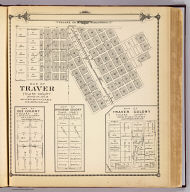 Map of Traver, Tulare County. (with) Map of Coe Colony, Tulare Co. (with) Map of Kitchener Colony, Tulare County. (with) Map of Traver Colony, Tulare County. (1892)