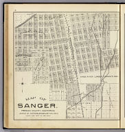 Map of Sanger. Fresno County, California. (Compiled, drawn and published ... by Thos. H. Thompson, Tulare, California, 1891)