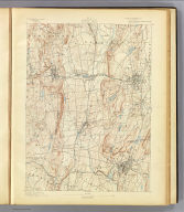 No. 18. Connecticut. Meriden sheet. U.S. Geological Survey, J.W. Powell, Director. State of Connecticut ... commissioners. Henry Gannett, Chief Topographer. Marcus Baker, Topographer in charge. Triangulation by S.S. Gannett. Topography by W.R. Atkinson and J.H. Jennings. Surveyed in 1889-90. Engraved by U.S.G.S. (1893)