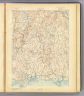 No. 27. Connecticut. Guilford sheet. U.S. Geological Survey, J.W. Powell, Director. State of Connecticut ... commissioners. Henry Gannett, Chief Topographer. Marcus Baker, Topographer in charge. Triangulation by U.S. Coast and Geodetic Survey. Topography by E.B. Clark. Surveyed in 1890. Engraved by Julius Bien & Co., N.Y. (1893)