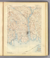 No. 29. Connecticut. New London sheet. U.S. Geological Survey, J.W. Powell, Director. State of Connecticut ... commissioners. Henry Gannett, Chief Topographer. H.M. Wilson, Geographer in charge. Triangulation and coast line by U.S. Coast and Geodetic Survey. Topography by Frank Sutton and Robert Muldrow. Surveyed in 1890. (1893)