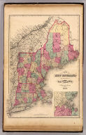 Map of New England with adjacent portions of New York & Canada. (with) 15 miles around Boston. H.F. Walling & O.W. Gray, Boston, 1871.