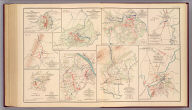 No. 10. Map of engagement at Hanging Rock, Roanoke County, Va., Tuesday, June 21st, 1864. No. 15. Sketch of the battle Monocacy, Frederick Co., Md., Saturday July 9th 1864. (with) No. 2. Sketch of the battle of the Wilderness. Position of 2d Corps. A.N. Va., Thursday May 5th 1864. (with) No. 3. Sketch of the battle of the Wilderness. Position of 2d Corps, A.N. Va., Friday May 6th 1864. (with) No. 4. Sketch showing positions and entrenchments of the 2d Corps, A.N. Va., during the battles of Spotsylvania C.H., Va. from May 9th to May 21st 1864. (with) No. 14. Map of action of McCausland's cavalry brigade at Hagerstown, Md., Thursday July 7th 1864. (with) No. 13. Map of the capture of North Mountain Depot, Va. by McCausland's cavalry brigade, Monday July 4th 1864. (with) No. 16. Sketch of the battle of Rutherford's Farm, Va., July 20th 1864. (with) No. 9. Map of engagement near Lynchburg, Va., Saturday June 18th 1864, from Maj. A.H. Campbell's surveys. (all) To accompany report of Jed. Hotchkiss, Top. Eng. ... Julius Bien & Co., Lith., N.Y. (1891-1895)