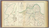 Topographical map showing defenses of Cincinnati, Covington and Newport. Commenced under Brig. Gen. O.M. Mitchel, U.S. Vols. by Col. Charles Whittlesey ... and extended under ... H.G. Wright ... in 1862 by Maj. J.H. Simpson ..., W.E. Merrill and ... J.A. Tardy ... and Mr. Charles Whittlesey and under ... A.E. Burnside ... in 1863 by ... J.H. Simpson ... and M.D. McAlester, Corps of Engrs. (with) Map of Bowling Green, Ky., showing its approaches and defenses. Surveyed and drawn under authority of Maj. J.H. Simpson, Chief Engr., Department of the Ohio by Lieut N.S. Andrews ... 1863. Julius Bien & Co., Lith., N.Y. (1891-1895)