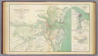 Map of Charleston and its defenses, compiled from surveys of portions of St. Andrew's and Christ Ch. parishes by Lieut. John Johnson, C.S. Engrs ... Under the direction of Maj. Wm. H. Echols, C.S. Engr's Corps ... by Wm. A Walker, draughtsman ... Drawn by John R. Key ... Charleston, S.C., Nov. 28th 1863. (with) Map of New Berne, N.C. and defenses. Copied from Cleveland Rockwell's U.S. Coast Survey chart of New Berne and approaches, with additions under the direction of Lieut. Wm. R. King, U.S. Eng'rs. by Solon M. Allis, 27th Mass., July 1864. (with) Diagrams illustrating the 1st and 7th positions occupied by the 4th Division, 17th Army Corps, during the battle of Atlanta, Ga., July 22, 1864. Julius Bien & Co., Lith., N.Y. (1891-1895)