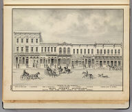 Main Street, Woodland, south side from First Street to College Avenue. De Pue & Co. Pub., S.F. Lith. W.T. Galloway. (1879)