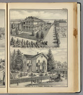 Residence of Dr. H.P. Merritt, near Woodland, Yolo Co. Residence of C.S. Thomas, Woodland, Cal. De Pue & Co. Pub., S.F. Lith. W.T. Galloway, S.F. (1879)