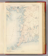 Massachusetts. Falmouth sheet. Preliminary edition subject to corrections. U.S. Geological Survey, J.W. Powell, Director. State of Massachusetts ... commissioners. Henry Gannett, Chief Geographer. Marcus Baker, geographer in charge. Triangulation by the U.S. Coast and Geodetic and Borden surveys. Coast line by the U.S. Coast and Geodetic Survey. Topography by W.J. Crambs (i.e. Grambs), assistant, under the direction of Sumner H. Bodfish, topographer. Surveyed in 1886. Forbes Co., Boston & N.Y. (1890)