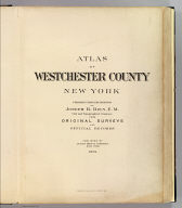 Title Page: Atlas Westchester Co., N.Y.