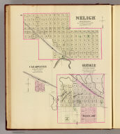 Neligh, Antelope County. (with) Oakdale, Antelope County. (with) Clearwater, Antelope County. (Philadelphia, Everts & Kirk, 1885)