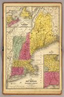 Map of the New England or Eastern States. Engraved to illustrate Mitchell's school and family geography. (with) Map of New Brunswick, Nova Scotia and Newfoundland &c. (with) Vicinity of Boston & Providence. (with) Vicinity of New Haven & Hartford. Drawn and engraved by J.H. Young. Entered ... 1844 by S. Augustus Mitchell ... Eastern District of Pennsylvania.