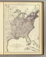 Map showing in five degrees of density, the distribution, within the territory east of the 100th Meridian, of the population of the United States, excluding Indians not taxed. Compiled from the returns of population at the seventh census by Francis A. Walker. (Julius Bien, Lith., 1874)