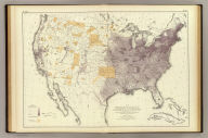 Map showing, in five degrees of density, the distribution, within the territory of the United States, of the constitutional population, i.e., excluding Indians not taxed. Compiled from the returns of population at the ninth census of the United States, 1870. By Francis A. Walker. To which is added a sketch of the principal Indian reservations and ranges from information furnished by the Office of Indian Affairs of date 1871. (Julius Bien, Lith., 1874)
