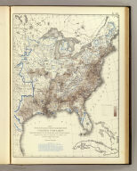 Map showing in five degrees of density the distribution of the colored population within the territory of the United States east of the 100th Meridian. Compiled from the returns of population at the ninth census of the United States 1870, by Francis A. Walker. (Julius Bien, Lith., 1874)