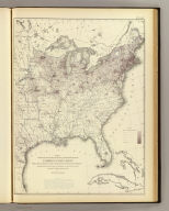 Map showing five degrees of density the distribution of the foreign population within the territory of the United States east of the 100th Meridian. Compiled from the returns of population at the ninth census of the United States 1870. By Francis A. Walker. (Julius Bien, Lith., 1874)