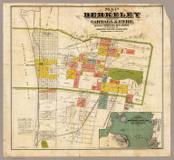 Map of Berkeley. Published by Carnall & Eyre, dealers in Berkeley Real Estate. Compiled by Joseph Smith, Oakland. From the records of Alameda Co., Cal. Lith. A. Waldstein, S.F. (1880)
