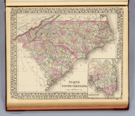 North and South Carolina. (with) Plan of Charleston. Entered ... 1879 by S. Augustus Mitchell ... Washington. (1880)