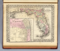 County map of Florida. (with) Mobile. Entered ... 1879 by S. Augustus Mitchell ... Washington. (1880)