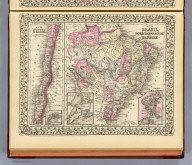 Map of Brazil, Bolivia, Paraguay, and Uruguay. (with) Map of Chili. (with) Harbor of Bahia. (with) Harbor of Rio Janeiro. (with) Island of Juan Fernandez. Entered ... 1879 by S. Augustus Mitchell ... Washington. (1880)