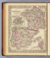 Map of France, Spain, and Portugal. (with) Switzerland in cantons. (with) Island of Corsica. Drawn & engraved by W.H. Gamble. Entered ... 1879 by S. Augustus Mitchell ... Washington. (1880)