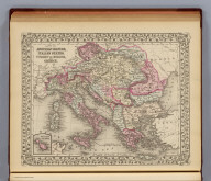 Map of the Austrian Empire, Italian States, Turkey in Europe, and Greece. (with) Maltese Islands. Entered ... 1879 by S. Augustus Mitchell ... Washington. (1880)