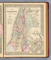 A new map of Palestine or the Holy Land. (with) Modern Jerusalem. Drawn and engraved by W.H. Gamble, Philada. Entered ... 1879 by S. Augustus Mitchell ... Washington. (1880)