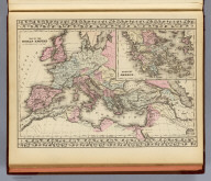 Map of the Roman Empire in its greatest extent. (with) Ancient Greece. (By S. Augustus Mitchell. 1880)
