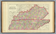 County map of Kentucky and Tennessee. Copyright 1887 by Wm. M. Bradley & Bro. (1890)