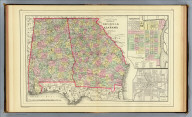 County map of the states of Georgia and Alabama. (with) Savannah, Georgia. (with) City of Atlanta, the capitol of Georgia. Copyright 1887 by Wm. M. Bradley & Bro. (1890)