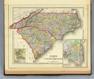 North and South Carolina. (with) Plan of Charleston. (with) Map of Charleston Harbor. Copyright 1887 by Wm. M. Bradley & Bro. (1890)