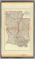 County map of the states of Arkansas, Mississippi and Louisiana. Copyright 1887 by Wm. M. Bradley & Bro. (1890)