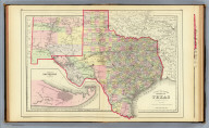 County map of the state of Texas. Showing also portions of the adjoining states and territories. (with) Plan of Galveston and vicinity. Copyright 1887 by Wm. M. Bradley & Bro. (1890)