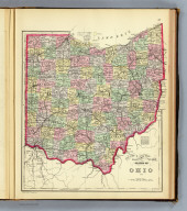 County & township map of the states (sic) of Ohio and (sic). Copyright 1887 by Wm. M. Bradley & Bro. (1890)