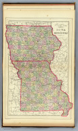 County & township map of the states of Iowa and Missouri. Drawn & engraved by W.H. Gamble, Philadelphia. Copyright 1887 by Wm. M. Bradley & Bro. (1890)