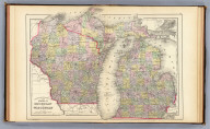 County and township map of the states of Michigan and Wisconsin. (with) Isle Royale, Michigan. Drawn and engraved by W.H. Gamble, Philadelphia. Copyright 1887 by Wm. M. Bradley & Bro. (1890)