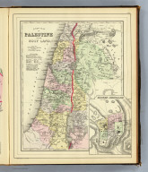 A new map of Palestine or the Holy Land. (with) Modern Jerusalem. Drawn and engraved by W.H. Gamble, Philada. Copyright 1887 by Wm. M. Bradley & Bro. (1890)