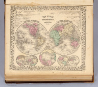 The World in hemispheres. With other projections &c. &c. Constructed and engraved by W. Williams, Philadelphia. Entered ... 1867 by S. Augustus Mitchell, Jr. ... Pennsylvania. (1870)