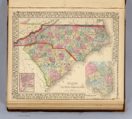 North and South Carolina. (with) Plan of Charleston. (with) Map of Charleston Harbor. Entered ... 1870 by S. Augustus Mitchell, Jr. ... Pennsylvania.