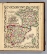 Map of France, Spain and Portugal. (with) Switzerland in cantons. (with) Island of Corsica. Drawn & engraved by W.H. Gamble. Entered ... 1870 by S. Augustus Mitchell, Jr. ... Pennsylvania.