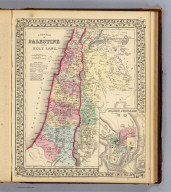 A new map of Palestine or the Holy Land. (with) Modern Jerusalem. Drawn and engraved by W.H. Gamble, Philada. Entered ... 1867 by S. Augustus Mitchell, Jr. ... Pennsylvania. (1870)