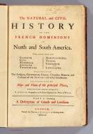 Title Page: Natural and civil history of the French dominions in North and South America.