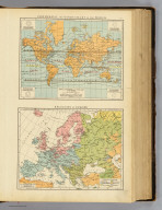 """Isothermal and winds chart of the World. Religions of Europe. (Published at the office of """"The Times,"""" London, 1895)"""