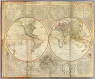 (Composite of) A general map of the World or terraqueous globe with all the new discoveries and marginal delineations, containing the most interesting particulars of the solar, starry and mundane system, by Saml. Dunn, mathematician. London, Published by Laurie & Whittle, No. 53, Fleet Street, 12th May, 1799.