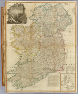 (Composite of) A map of the Kingdom of Ireland divided into provinces, counties and baronies. (with) The seacoasts of Great Britain and Ireland. Showing the archbishopricks, bishopricks, cities, boroughs, market towns, villages, barracks, mountains, lakes, bogs, rivers, bridges, ferries, passes, also the Great, the Branch & the By post roads, together with the inland navigation &c. by J. Rocque, Chorographer to His Majesty. Published 12th May 1794 by Laurie & Whittle, 53 Fleet Street, London
